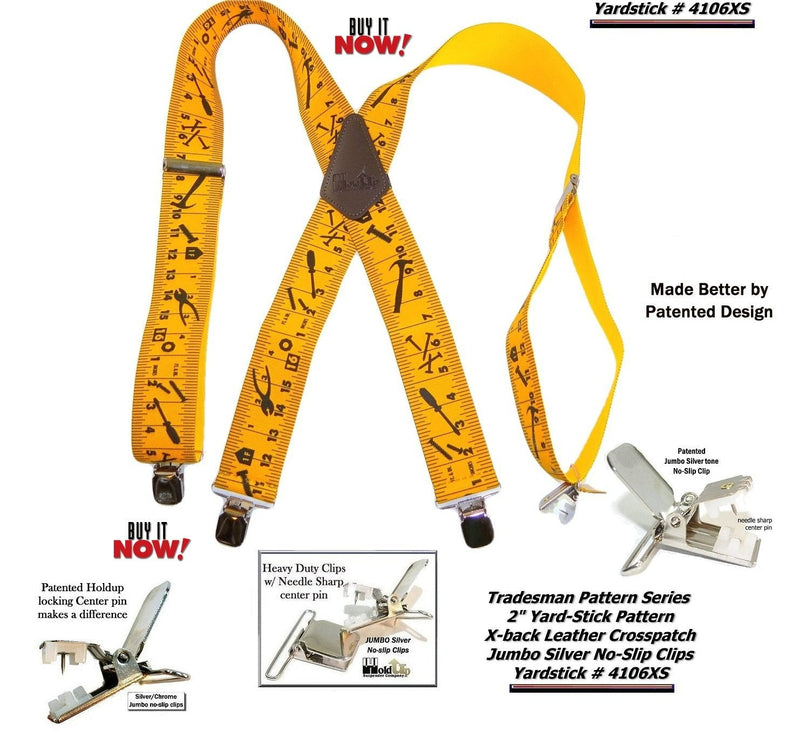 "Hold-Ups Tradesman Series 2"" Wide Suspenders in Yardstick Pattern with Patented No-slip Silver Clips"