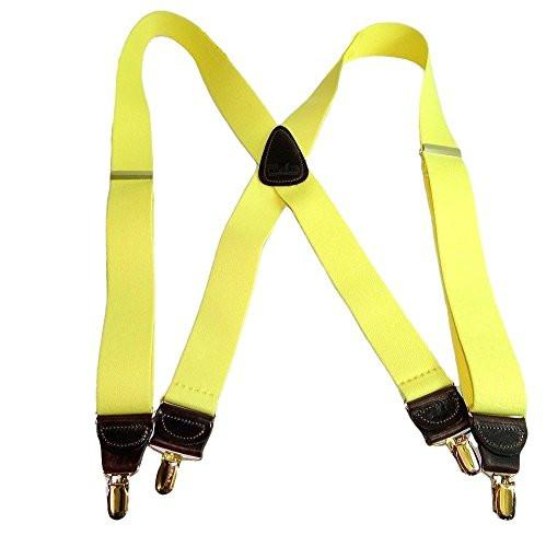 "Hold-Ups Lemon Zest Yellow 1 1/2"" wide Suspenders in X-back with Patented No-slip Gold Clips"