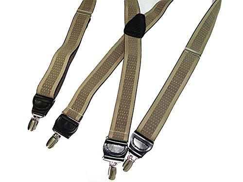 "Hold-Ups Taupe Jacquard 1 1/2"" wide Suspenders in X-back style and patented No-slip Nickel Clips"