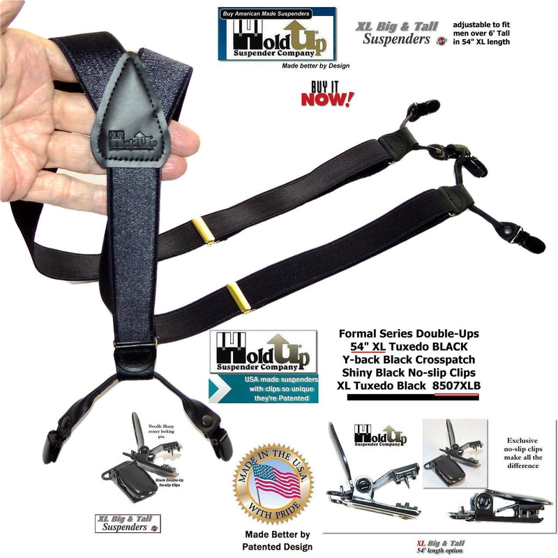 Holdup brand XL Tuxedo all Black satin finished Formal Suspenders with black no-slip clips
