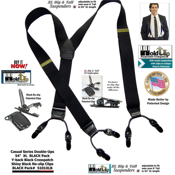 XL Casual Series Double-Ups Style Holdup Suspenders in Black Pack color and No-slip Clips