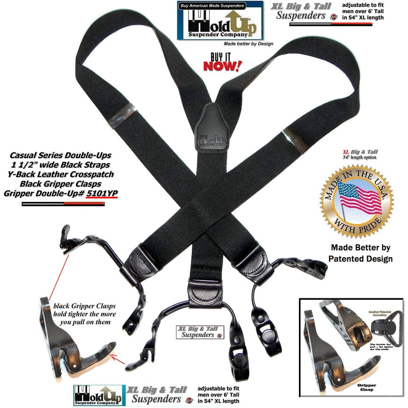 Holdup Black Pack XL Double-Up Style Y-back Suspenders with Patented Gripper Clasps