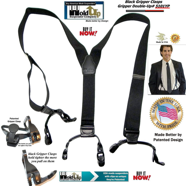 Holdup Black Pack Double-Up Style Y-back Black Suspenders with Patented Gripper Clasps