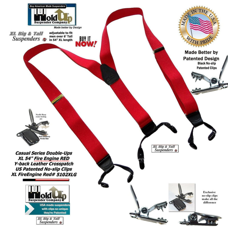 59408985c64 Hold-Ups Extra Long XL Fire Engine Red Dual Clip Double-ups Style Suspenders