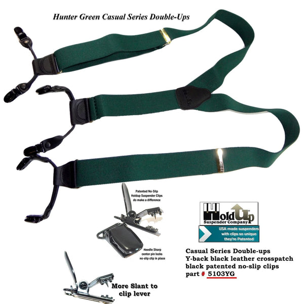 Holdup Brand Dark Hunter Green Dual Clip Double-Up Style Suspenders with Y-Back crosspatch and Patented no-slip clips