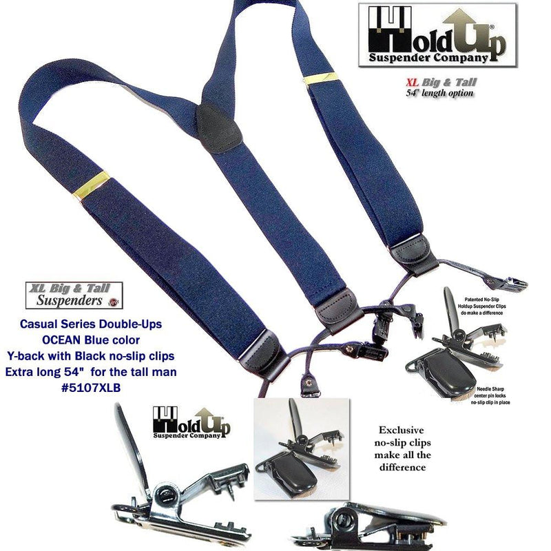 Holdup Brand Dark Ocean Blue Dual Clip XL Double-Ups style with patented black No-slip Clips