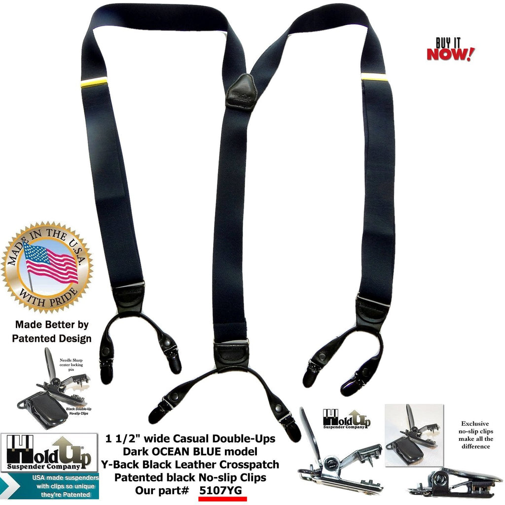 Holdup Brand Dark Ocean Blue Y-back Casual Series Suspender with patented Silver-tone center pin Clips