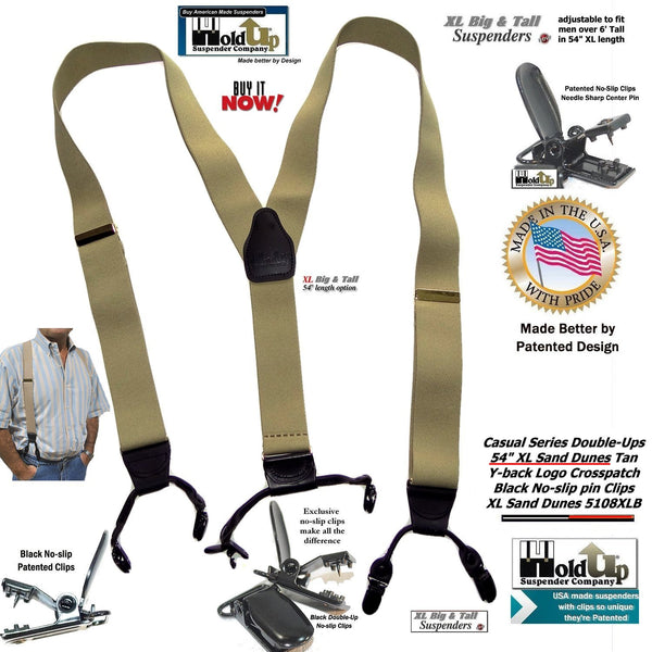 "Holdup Brand Sand Dunes Tan XL 54"" Big & Tall Double-Up Suspenders with Patented black no-slip clips"