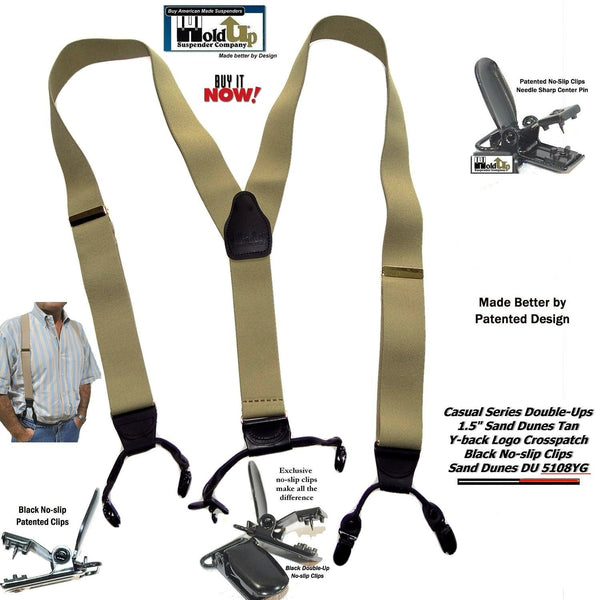 HoldUp Brand Light Tan Sand Dunes colored Double-Up Style Y-back Suspenders with Patented No-slip Clips