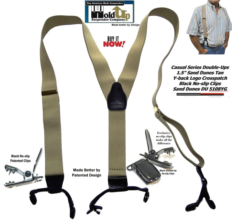 Holdup Light Tan Sand Dunes color Double-Up Style Suspenders with black patented No-slip Clips