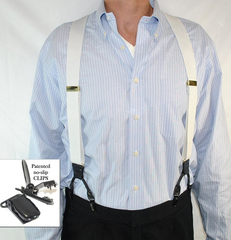 Hold-Ups White Casual Series Dual-clip Men's Suspenders with Y-back Crosspatch