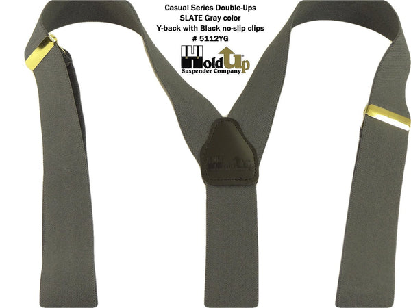 Hold-Ups Slate Grey Casual Series Dual No-slip clip Men's dressy Suspenders with Y-back