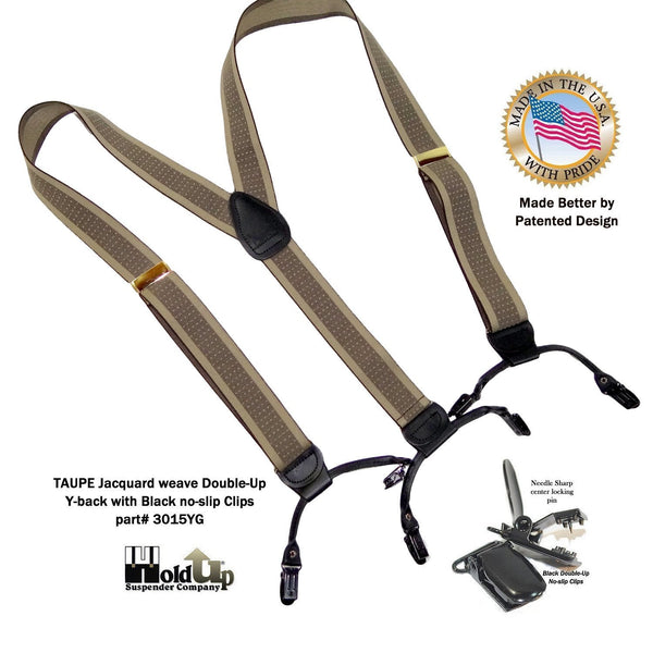 Hold-Up Brand Tan and Taupe Jacquard Double-ups Y-back Suspenders with Patented Black No-slip Clips