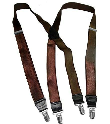 "Hold-Ups 1"" Wide Satin Finish Chocolate Brown Suspenders with X-back and Silver No-slip Clips"