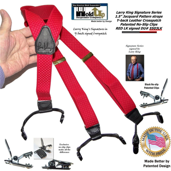 Larry King Signature Series Red Holdup Suspenders in Double-Up Style with Patented No-slip clips