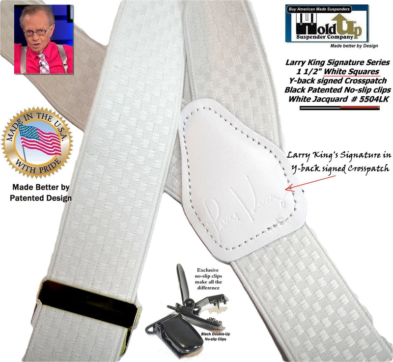 White Larry King Signature Series Holdup Suspenders in Double-Up Style with Patented No-slip clips