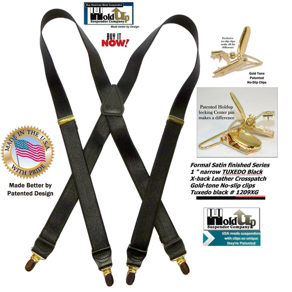 "Holdup Brand Tuxedo Black 1"" wide Satin Finish X-back style Suspenders with Patented No-slip Gold clips"