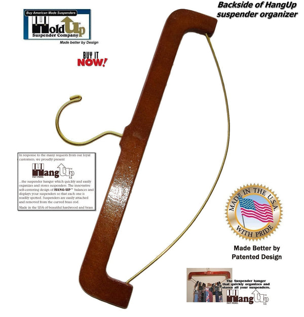 Holdup Patented Hang-up Hardwood Suspender Hanger and Organizer for Suspenders