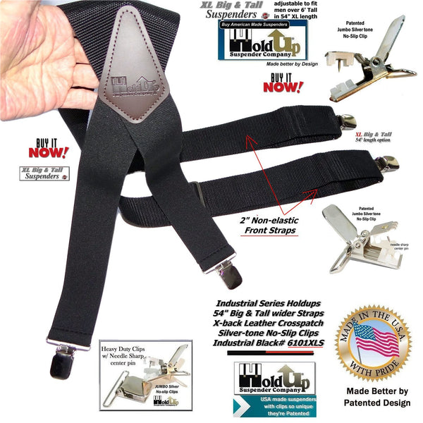 "Hold-Ups XL Black Industrial 2"" Wide Non-elastic Suspenders with No-slip Jumbo Silver Clips"