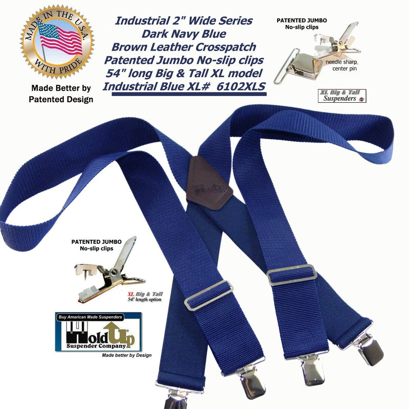 "HoldUp Brand XL BLUE Industrial 2"" Wide Non-elastic Suspenders with No-slip Jumbo Silver Clips"