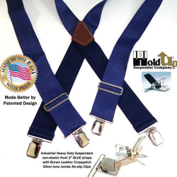 "Holdup Suspender Company dark Blue Industrial heavy duty 2"" Wide Non-elastic Suspenders with Patented No-slip Jumbo Silver Clips"