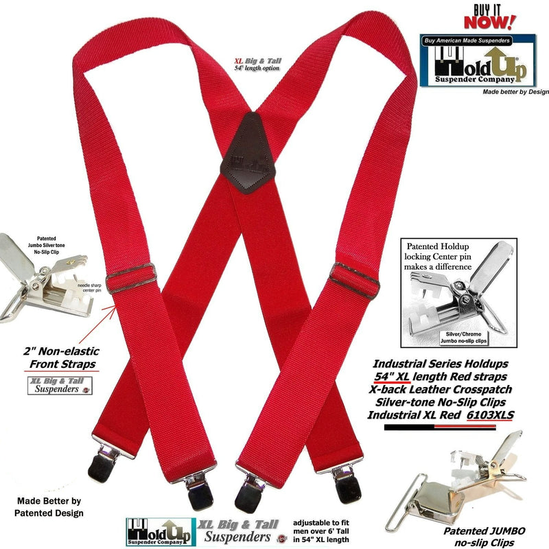 RED Industrial Series Heavy Duty X-back Suspenders with No-slip Jumbo Silver Clips