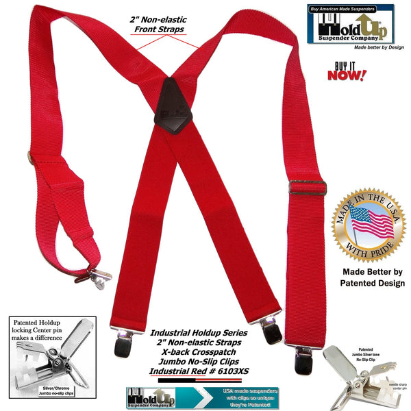 HoldUp Brand Red Industrial Series Wide Work Suspenders with Jumbo No-slip Center pin clips