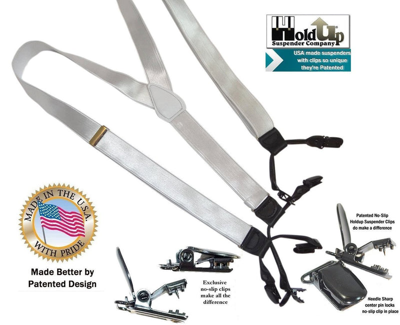 HoldUp Suspenders in Formal Series Double-Up style has 1 inch wide White Satin Finished shiny straps with Patented no-slip black clips