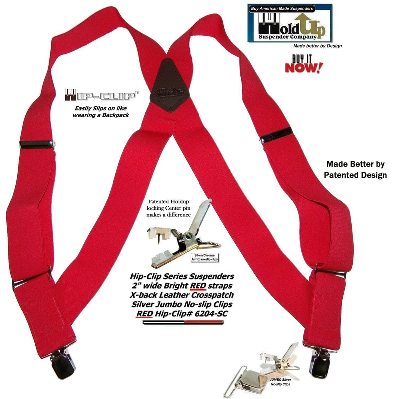 "Hold-Ups 2"" wide Bright Red Hip-clip Trucker Style Side Clip-on Suspenders"