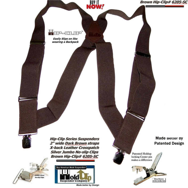 Holdup Hip-Clip Series dark Brown Trucker Style Suspenders with Jumbo No-slip Clips