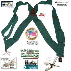 Dark Green side clip Holdup Hip-clip suspenders made in the USA