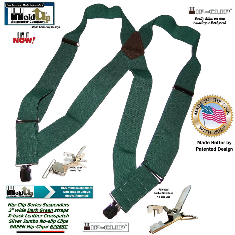 Holdup Brand Dark Green Hip-clip Side Clip-on Suspenders with Jumbo no-slip clips