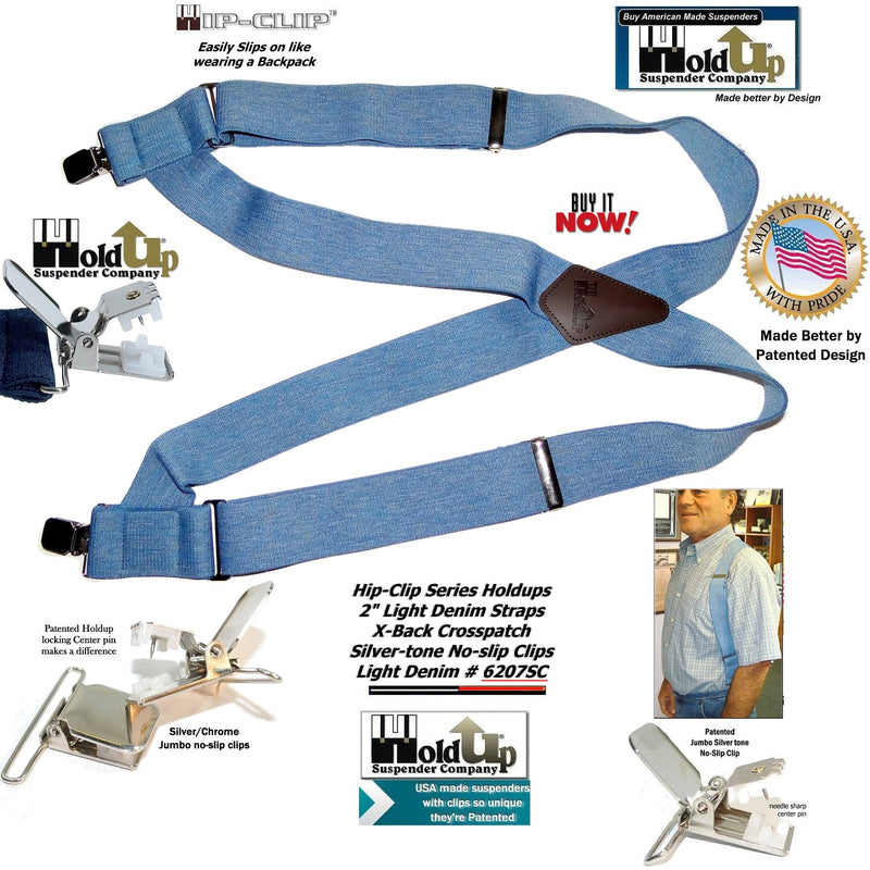 "Holdup Brand Light Blue Denim Trucker Style 2"" Wide Hipclip Suspenders with Patented Jumbo No-slip Clips"