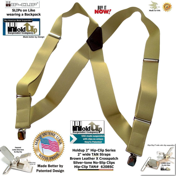 "Tan Heavy Duty Trucker Style 2"" Wide Hip-Clip Holdup Suspenders with Patented silver tone no-slip jumbo clips"