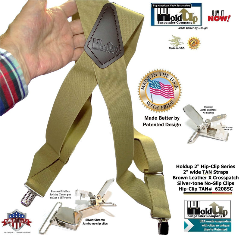 Tan Trucker Style Hip-Clip Holdup Suspenders with Patented silver-tone no-slip jumbo clips
