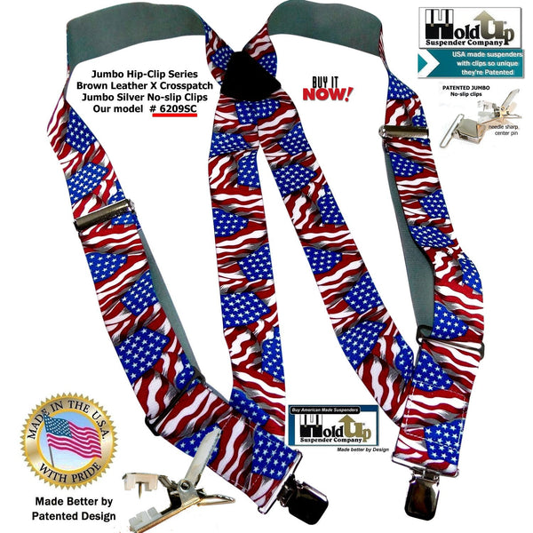 USA Flag pattern Holdup Hip-Clip 2 inch wide suspenders with Patented Jumbo no-slip center pin clips