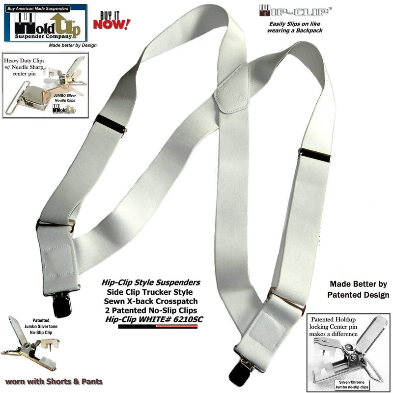 "Holdup Brand All White 2"" Wide Hip-Clip Suspenders with Patented Jumbo Silver No-slip Clips"