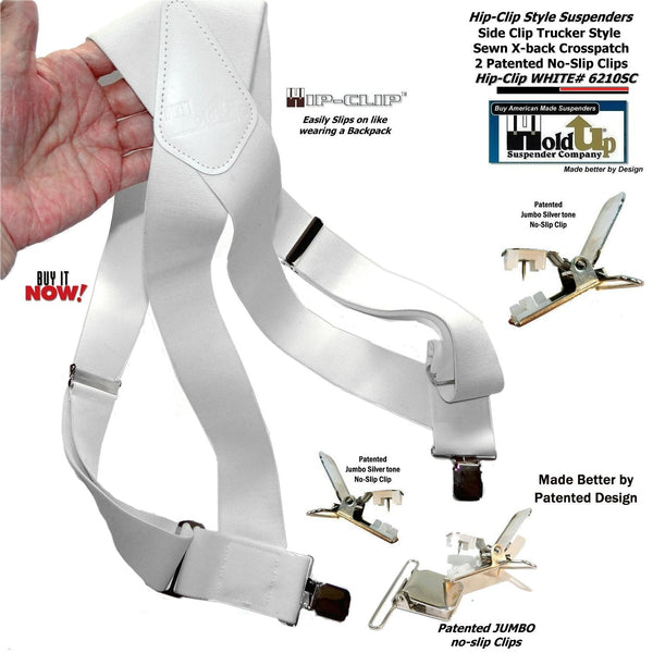 "Holdup Brand All White Trucker Style 2"" Wide Hip-Clip Suspenders with Patented Jumbo Silver No-slip Clips"