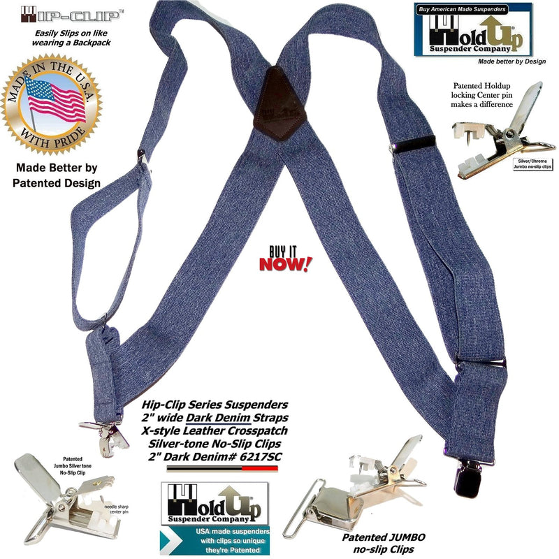 "Hold-Ups Dark Denim Trucker Style 2"" Wide Hipclip Suspenders with Patented No-slip Clips"