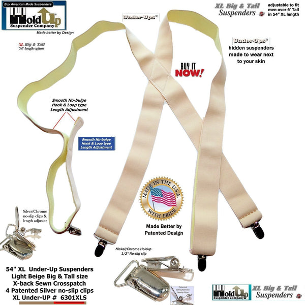 "Hold-Ups  XL Undergarment 1 1/2"" Wide Suspenders in X-back Style w/ No-slip Metal Clips"