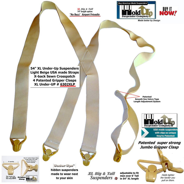 "Hold-Ups X-Back Patented Gripper Clasps Beige XL 1 1/2"" wide Undergarment Suspenders"