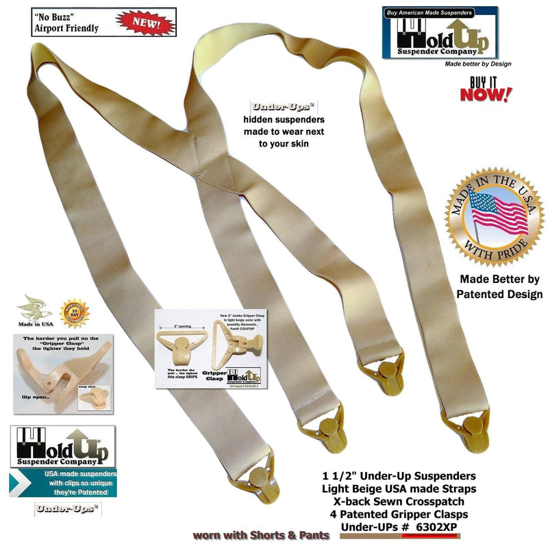 "HoldUp Brand Under-Up Series Tan 1 1/2"" Wide Undergarment Suspenders with 4 Gripper Clasps"