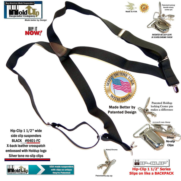 Black Hip-Clip X-back side clip Holdup Suspenders with patented silver tone no-slip clips