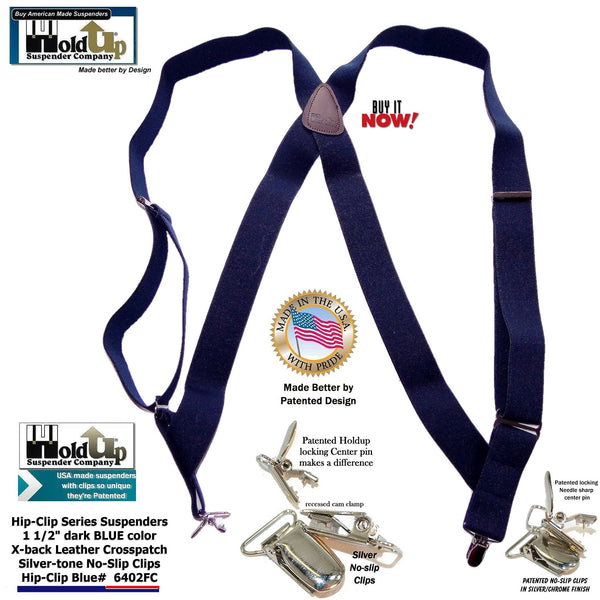 "Hold-Ups Navy Blue Trucker Style Hip-clip Suspenders in 1 1/2"" Width and No-slip Clips"