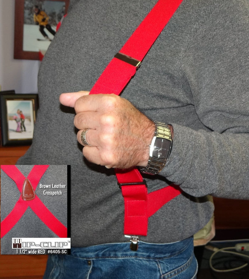 Holdup Brand Bright Red Hip-clip Series X-back Suspenders with silver no-slip clips
