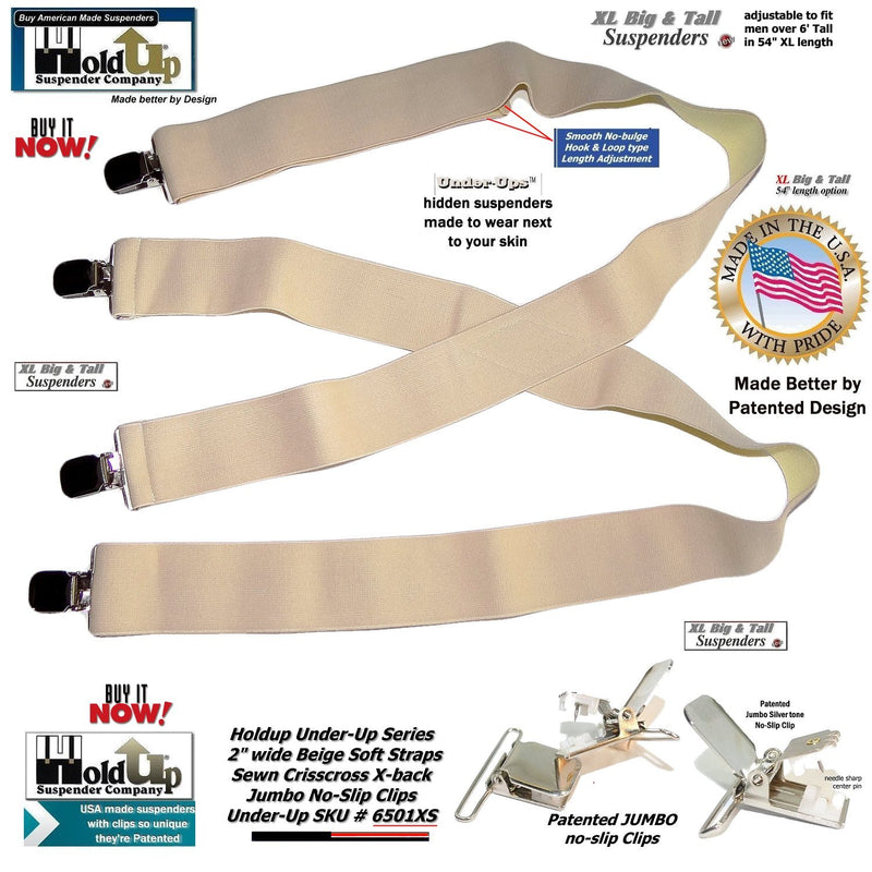 HoldUp Hidden Undergarment XL Suspenders in X-back style with Patented Silver No-slip Clips