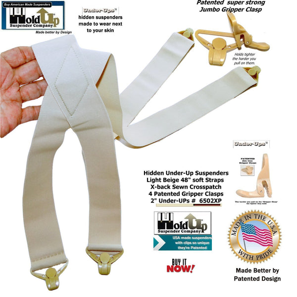 "HoldUps 2"" Wide Undergarment Suspenders in color Tan with Patented Gripper Clasps"
