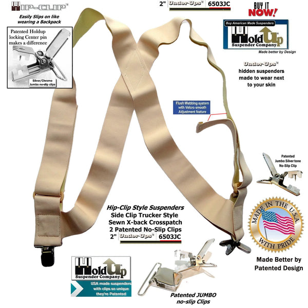 "Holdup 2"" Wide Undergarment Hip-clip style Suspenders with Patented jumbo No-slip Clips"