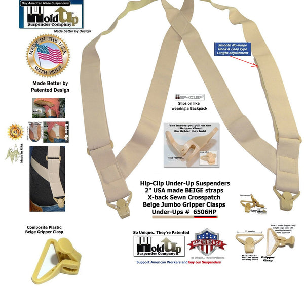 Hold Up Brand Under-Up Series Tan Suspenders are Patented with Our Airport Friendly Composite Plastic Gripper Clasp