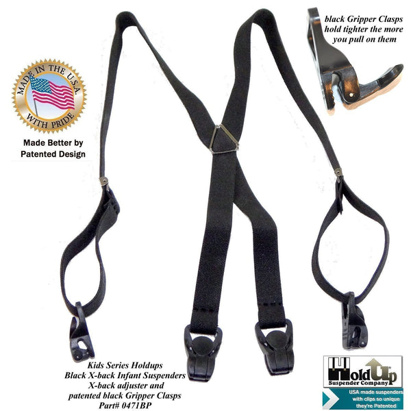 "Holdup Brand 24"" Infant Black X-back Suspenders with Patented Black Gripper Clasps"